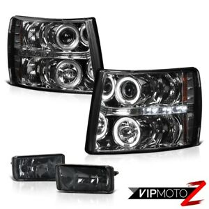 07 2013 Chevy Silverado 1500 2500 3500 Smoke Halo Projector Headlight Fog Lights