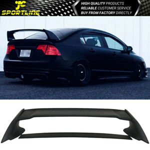 Fits 06 11 Honda Civic 4 Door Sedan Mugen Rear Trunk Spoiler Wing Matte Black