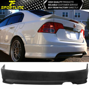 Black Polyurethane Hfp Style Rear Bumper Lip Bodykits Fit 06 11honda Civic Ex Si