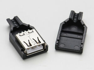 2pcs Usb Type A Female Diy Port Connector Socket Cable Wire Replacement W Shell