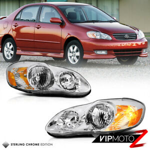 For 03 08 Toyota Corolla Chrome Clear Replacement Head Lamp Light Factory Style