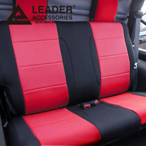 Car Seat Cover Rear Solid Bench Fit 2011 2014 Jeep Wrangler 2 Door Red Black