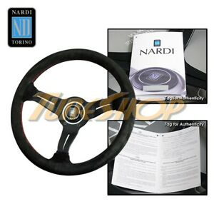 Italy Nardi Rally Deep Corn 330mm Steering Wheel Black Suede Red Stiching Horn