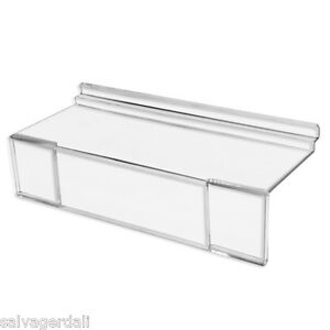 4 X 10 Acrylic Slatwall Shoe Shelf With Sign Holder Clear Lot Of 100 New