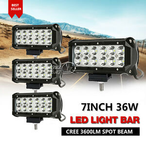 4x 7inch 36w Cree Led Work Light Bar Flood Lamp Spot Beam Offroad Ute Truck 4wd