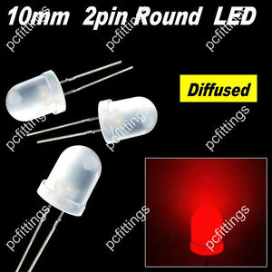 1000p X 10mm Red Round Diffused Led 10mm Red Diffused Led Light 9k Mcd 2pin Red