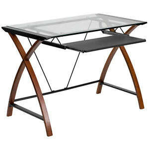 Flash Furniture Glass Computer Desk With Pull out Keyboard Tray