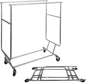Folding Double Bar Rolling Rack With Casters