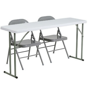 Flash Furniture 18 X 60 Plastic Folding Training Table With 2 Gray Metal