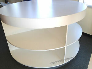 Round Display Cabinet With 8 Eight Open Shelves Base Wheels