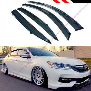 For 2013 17 9th Gen Honda Accord Clip On Type Smoke Window Visor W Chrome Trim
