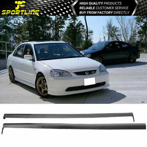 Fits 01 05 Honda Civic Rs Style Add On Black Pp Side Skirt Lip Bodykit