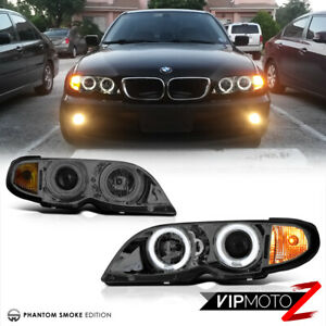 For Bmw E46 3 Series 4dr 02 05 Smoke Halo Projector Headlight Lamp Amber Signal