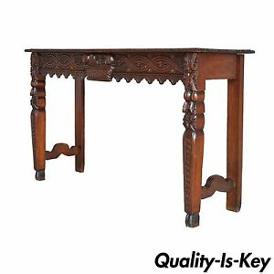 Antique French Country Renaissance Fruit Harvest Carved Oak Console Sofa Table