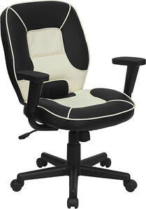 Flash Furniture Mid back Black And Cream Vinyl Steno Executive Swivel Office