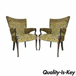 Pair Vintage Hollywood Regency Mahogany Dolphin Serpent Fire Side Armchairs