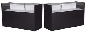 60 Jewelry Showcase Counter W light Retail Store Display Assembled Black New