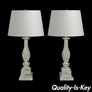 Pair Vintage Hollywood Regency White Painted Carved Wood Column Table Lamps
