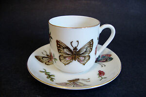 Hand Painted Japanese Porcelain Coffee Cup Saucer Original Lj Japan E3984