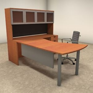 4pc L Shaped Modern Contemporary Executive Office Desk Set of con l21