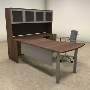 4pc L Shaped Modern Contemporary Executive Office Desk Set of con l24