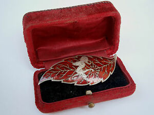 Vintage Old Hand Made Beauty Silver Brooch Pin Red Enamel Leaf Siam Sterling