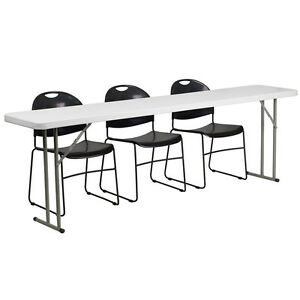 Flash Furniture 18 X 96 Plastic Folding Training Table With 3 Black