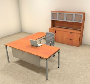 4pc L Shaped Modern Contemporary Executive Office Desk Set of con l71