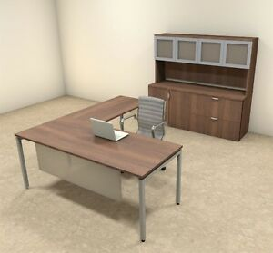 4pc L Shaped Modern Contemporary Executive Office Desk Set of con l74