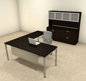 4pc L Shaped Modern Contemporary Executive Office Desk Set of con l75