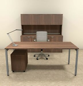 4pc Modern Contemporary Executive Office Desk Set of con d9