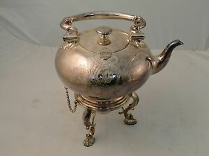 Silver Plated Tea Kettle Heavily Engraved Rounded Body Complete With Burner