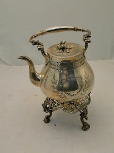 Silver Plated Tea Kettle 1880 Pierced Base Engraved Body Complete With Burner