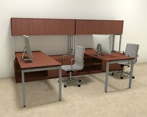 Two Persons Modern Executive Office Workstation Desk Set of con s2