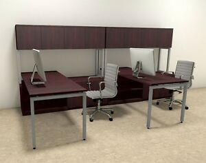 Two Persons Modern Executive Office Workstation Desk Set of con s3