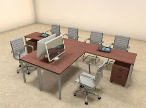 Two Persons Modern Executive Office Workstation Desk Set of con s12