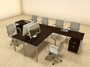 Two Persons Modern Executive Office Workstation Desk Set of con s15