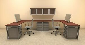 Two Persons Modern Executive Office Workstation Desk Set of con s17