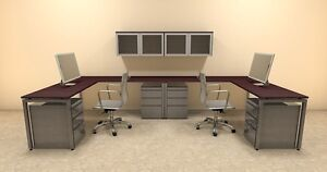 Two Persons Modern Executive Office Workstation Desk Set of con s18