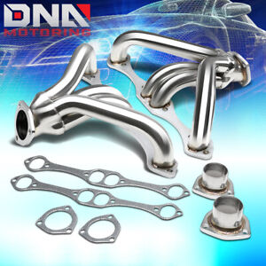 For Chevy Small Block Hugger 262 400 265 Angle Plug Head Exhaust Manifold Header