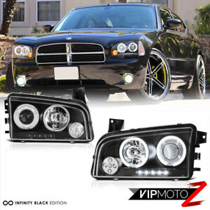 2006 2010 Dodge Charger Ccfl Halo Angel Eyes Led Projector Black Headlight Lamp