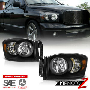 2006 2008 Dodge Ram 1500 srt 10 Style Black Crystal Headlights 06 09 Ram 2500