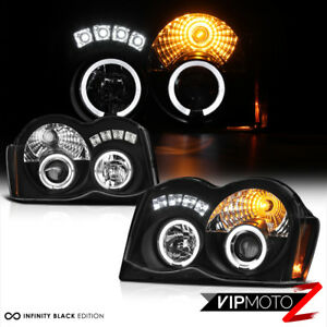 For 08 10 Jeep Grand Cherokee Black Projector Headlight Halo Angel Eye Assembly