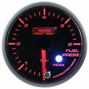 Prosport 60mm Premier Amber Red Super White Led Fuel Pressure Gauge Bar