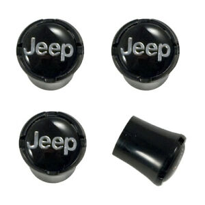 Jeep All Black Chrome Brand Name Logo Letters Tire Wheels Valve Stem Caps 4pc
