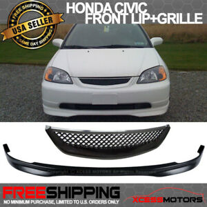 Fits 01 03 Honda Civic T R Style Pp Front Bumper Lip Spoiler Abs Hood Grille