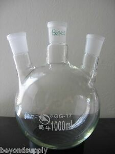 Lab Glass Flask 3 Three Neck Around Bottom 2000ml New