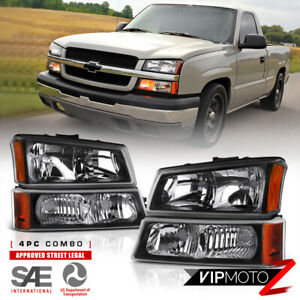03 06 Chevy Silverado Avalanche 1500 2500 3500 Black 4pc Headlight Signal Lamp