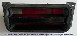 1970 1971 Plymouth Duster Tail Light Assembly R H Passenger Side P N S 58622