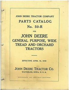 Vintage John Deere 1940 Orchard Tractor 50 r Parts Catalog